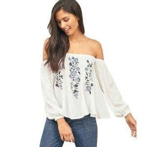 A&F Long Sleeve White Cold Shoulder Floral Top